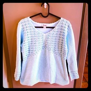 Lilly Pulitzer Crochet Top baby blue top L